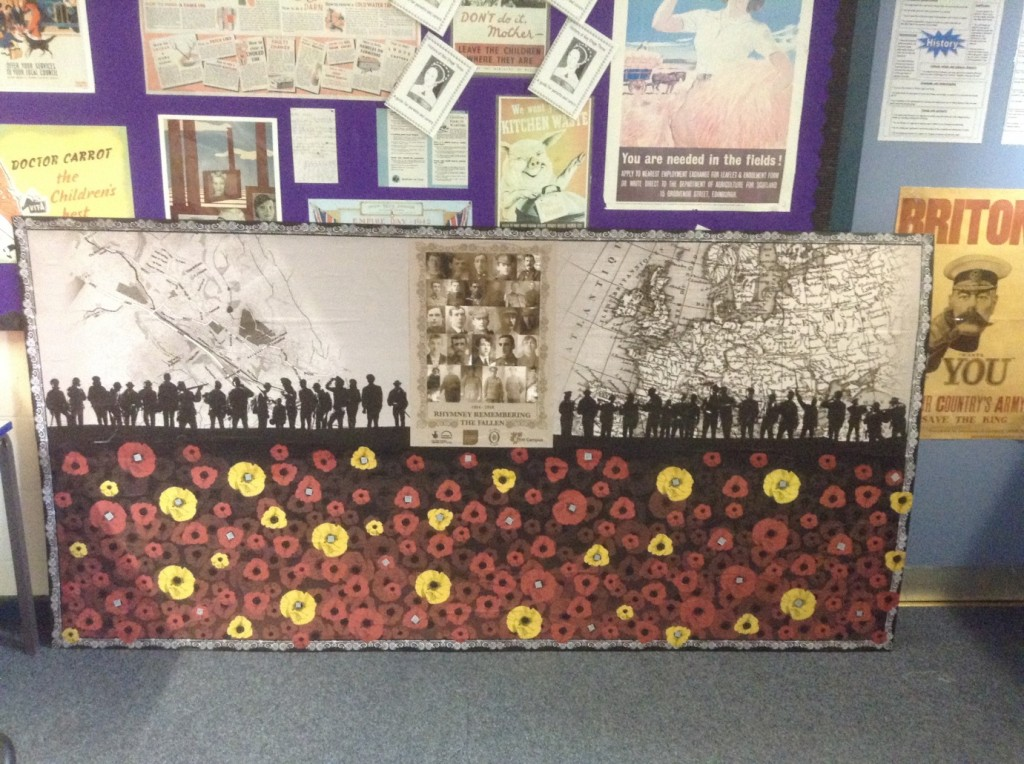 The mural produced by the pupils with the QR codes at the centre of the poppies