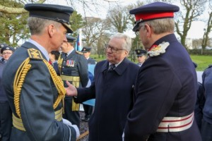 Air Chief Marshall Sir Stephen Hillier, Lord Dafydd Elis-Thomas AM, Minister for Culture, Tourism and Sport, and Mr Edmund Seymour Bailey, Lord-Lieutenant for Gwynedd at the RAF Centenary Memorial Garden, Lloyd George Museum  © MOD Crown Copyright 2017