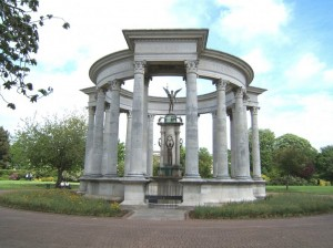 The Welsh National War Memorial was erected in Cathays Park in 1928. This image is one of many photographs of war memorials now available on Coflein.