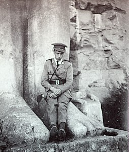 British officer relaxes at one of many Egyptian monuments