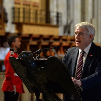 First Minister reads a passage at Llandaff Cathedral - Crown Copyright